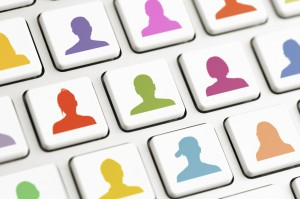 Computer keys with colored avatars